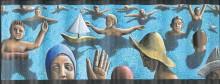 パメーラ・J・クルック(1945~ )、《紙帽子》、1995年、 波型木枠に張ったカンヴァスにアクリル、公益財団法人 諸橋近代美術館所蔵、 ©P.J.Crook 2016