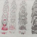 はじまりの美術館アーカイブ:青木尊《よその女の子たち》1997-2004年頃 画用紙、鉛筆、クレヨン、修正液