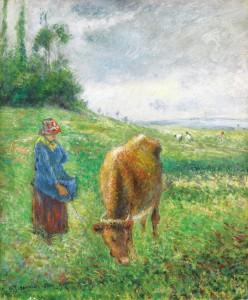 カミーユ・ピサロ《ポントワーズ丘陵、牛飼いの少女》1882年 諸橋近代美術館蔵