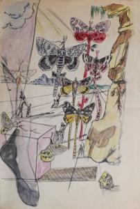 山下菊二《サルバドール・ダリの模写A》水彩、インク、コンテ・紙 徳島県立近代美術館蔵(4/24-5/25展示)